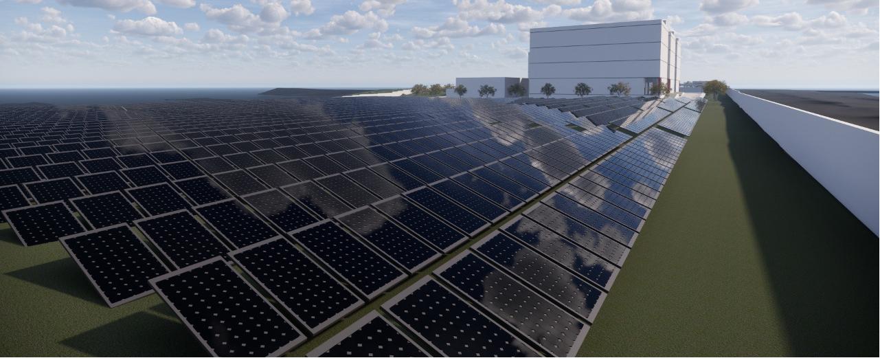 Painéis solares em data center